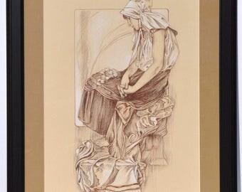 Alphonse Mucha, Art Nouveau, portrait drawing, female portrait, old  masters, Art
