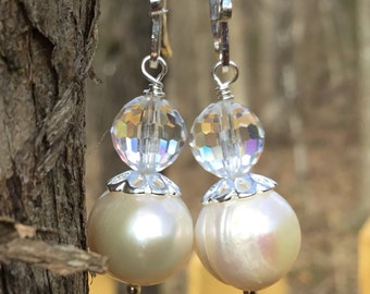 White Pearl and Swarovski Earrings