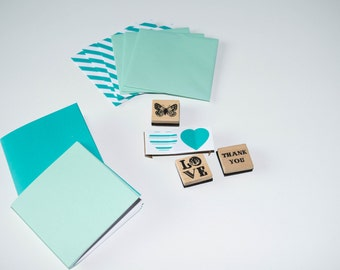 Mini card set, DIY, with stamps and stickers