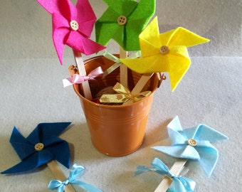 Set of 10 Pinwheels in felt or christening and birthday fommy Pinwheels in felt or fommy baby shower favor