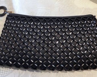 Vintage black beaded clutch bag Empire Made