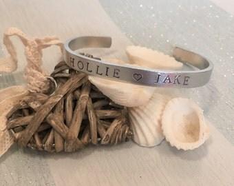 Personalised two name aluminium bracelet/bangle, perfect mothers day gift!