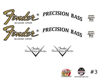 Fender Precision Bass Guitar Decal Waterslide Decal Headstock Restoration Logo #3