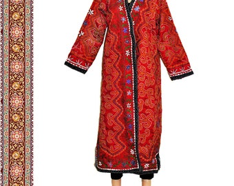 very special uzbek silk handmade embroidered jacket coat caftan robe chapan B149