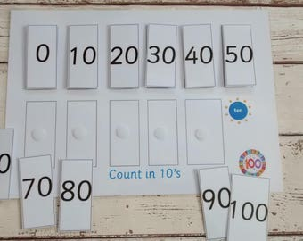Count in 10's numeracy activity for children, learn 10 times table, order numbers in 10's, numeracy game, numeracy teaching resource, EYFS