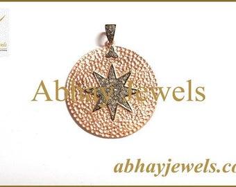 Silver Diamond Hamered Star Disc Pendent
