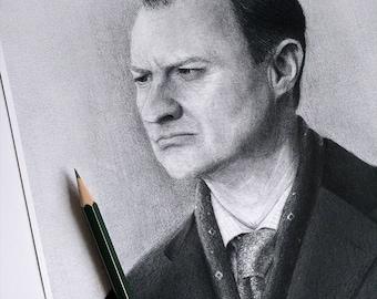 Mycroft Holmes A4 Graphite Portrait Art Print