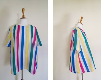 Vintage 1980's Handmade Rainbow Trapeze Short Sleeve Blouse / 80's Bright Colored Lightweight Top