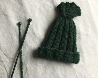 Hand Knitted Baby Hat / Knit Baby Hat / Dark Green Triangle Baby Hat