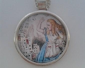 Alice in Wonderland Small Round Cabochon Pendant