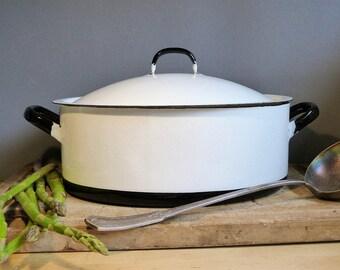 French Vintage White Enamelware Casserole Dish. Large Casserole Dish. Large White Stewing Pot. Enamelware Stewing Pot. GIFT FOR HER. French
