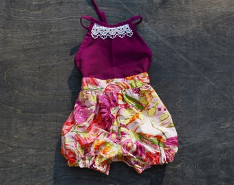 floral and lace shorts romper
