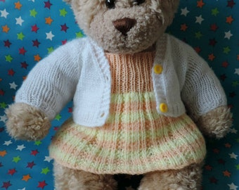 "New Hand Made Knitted Teddy Bear Clothes Oufit Set, Fits Build a Bear, Bear Factory, Doll, Dress and Cardigan, 18""-19"""