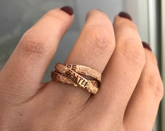 Rose gold plated silver triple ring