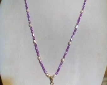 Natural Amethyst Pearl Necklace