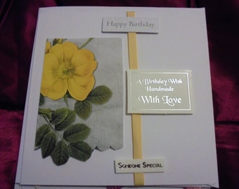 Birthday Card 'A Birthday Wish Handmade with Love' embellishment on front, yellow flower, FREE SHIPPING...