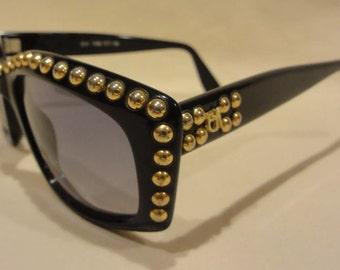 Super Cool 1980's Wayfarer  Sunglasses by Designer Emmanuelle Khanh Studded Handmade in France.