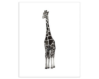 Black & White Giraffe Art Print