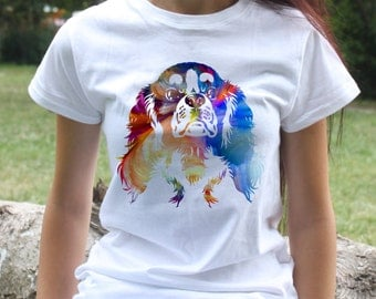 Cavalier king charles spaniel t-shirt - Dog tee - Fashion women's apparel - Colorful printed tee - Gift Idea