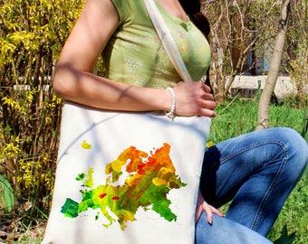 Europe tote bag -  Map shoulder bag - Fashion canvas bag - Colorful printed market bag - Gift Idea