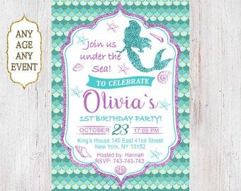 Mermaid Birthday Invitation, Little Mermaid Party Invite Under the sea, Mermaid Glitter,1st Birthday 139