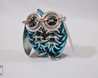 Sculpture Sky Blue & Champagne Owl