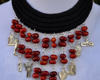 Black and red handmade necklace