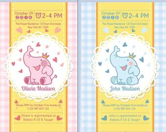 Elephant  Baby Shower Invitation  Elephant  Baby Shower Set  Elephant  Printable Shower Invitation Boy Girl Shower Invitation  PRINTABLE