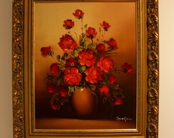Robert Cox oil painting - Roses in a vase