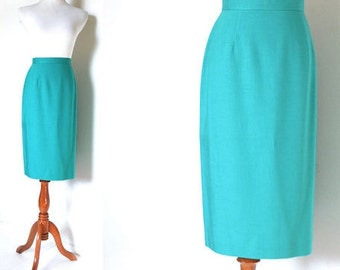 Vintage Teal/Pastel Green Pencil Skirt (1960s-1980s)