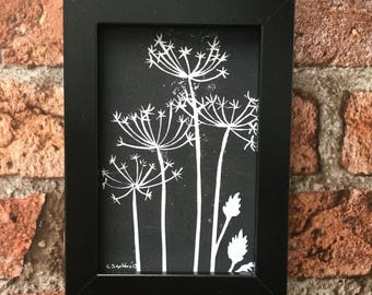 Cow Parsley, lino print, Black with black frame, signed by the Artist