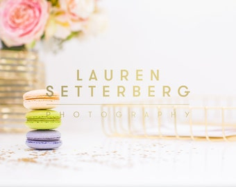 Styled Luxury Macaroons on Desk Stock Photo (Cream, Green, Lavendar)