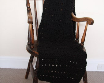 Hand Knitted black scarf