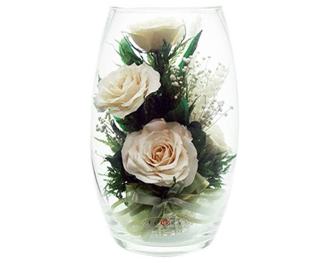 Ivory roses small oval vase