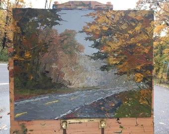 Foggy Fall Morning - Palette Knife Oil Painting