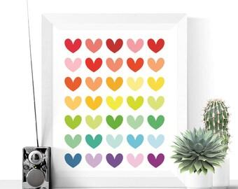 Bright Hearts Art Printable | Abstract Art | Modern Art | Heart Print | Colorful Art Printable | Wall Art Printable | Home Decor