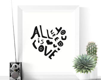 50% OFF Sale - Heart Print | All You Need Is Love Heart Art Printable | Hygge Art | Black and White | Modern Art | Minimalist Print