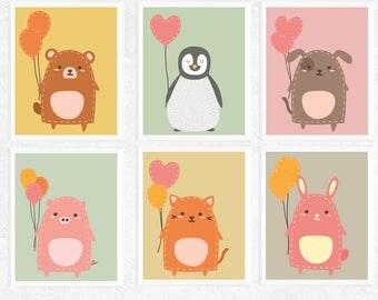 Cute Animals with Balloons Printables | 6 Set | Bear | Fox | Bunny | Pig | Penguin | Dog | Nursery Prints | Baby Art | Modern