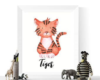 Tiger Print   Tiger Watercolor Printable   Tigers   Watercolour    Safari Animal Art     Nursery Print   Tiger Art   Printable