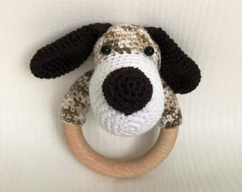 Teether and rattle dog crochet, unique and hand made