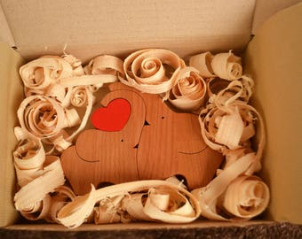Wooden love elphants puzzle - Puzzle toy - Wooden elephants family - Kids gifts - Natural eco friendly - Mother's Day gift - Handmade