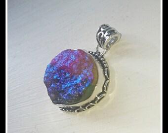 Rainbow druzy pendant