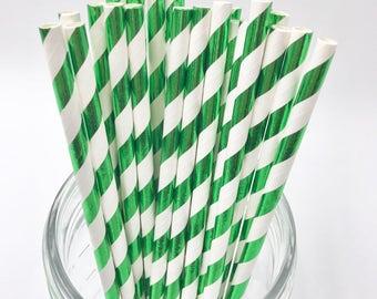Green & White Foil Stripe Paper Straws