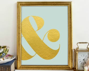 Gold Ampersand Print, Blue Gold Print, Girls Bedroom, Gold Lettering, Wall Art, Printable Art, Printable Wall Decor, Instant Download