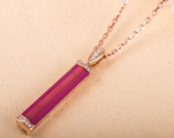 Pink Tourmaline Pendant Baguette Tourmaline Diamond Rose Gold Minimalist Anniversary Pendant Tourmaline Diamond Necklace