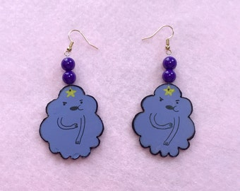 Lumpy Space Princess Earrings, LSP, Wood Hand-crafted Painted