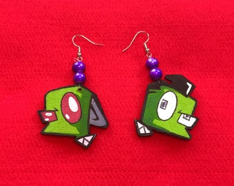 Invader Zim Earrings, Nickelodeon, Wood Hand-crafted Painted