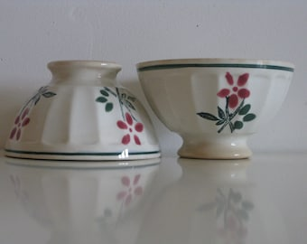 2 cafe au lait bowls, pretty small size French green and pink flowery coffee bowls