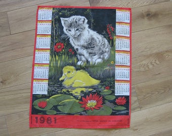 French calendar tea towel 1981 with kitten and duckling