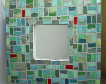 Mosaic Mirror Green with Red Glass Mosaic